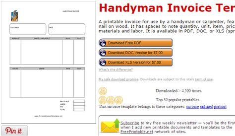 handyman invoice template handyman invoice template free rabitah net
