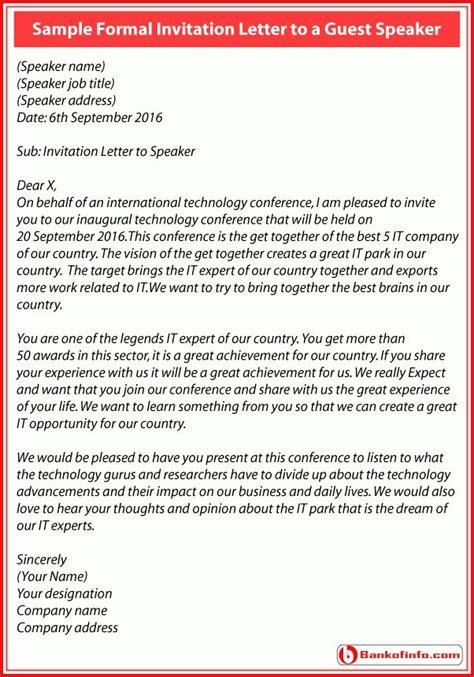 formal invitation letter guest speaker letters