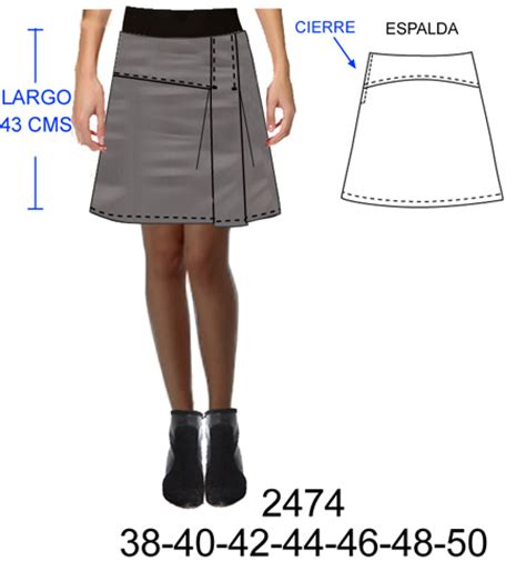 falda con cierre al costado faldas