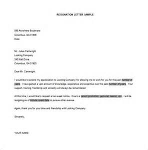 Template Resignation Letter Exle by Simple Resignation Letter Template 15 Free Word Excel