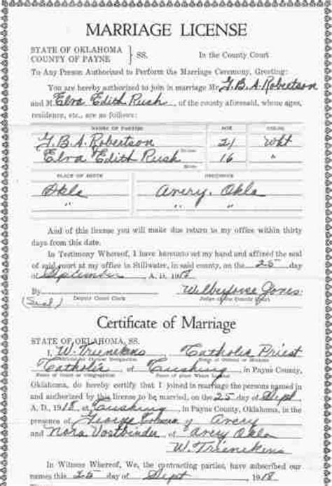 Oklahoma Marriage License Records Payne County Oklahoma Vital Records