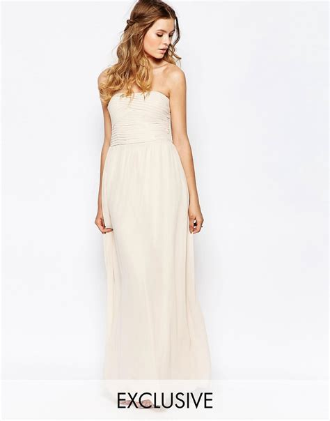 dress pattern ruched bodice vila vila ruched bodice bandeau maxi dress at asos