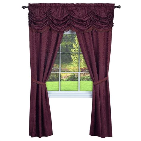 window in a bag curtain sets achim semi opaque panache burgundy window in a bag curtain