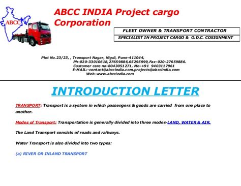 Introduction Letter Of Transport Company Abcc India Introduction Letter
