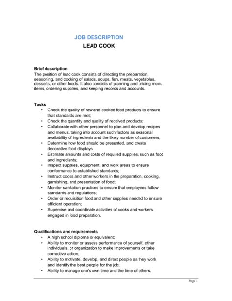 lead cook description template sle form