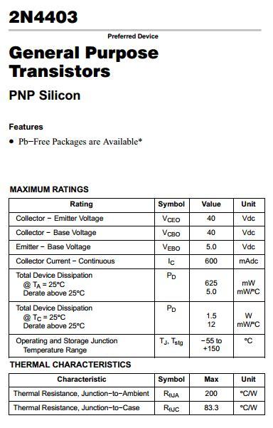 transistor pnp pdf 2n4403 datasheet pdf pnp transistor on semiconductor