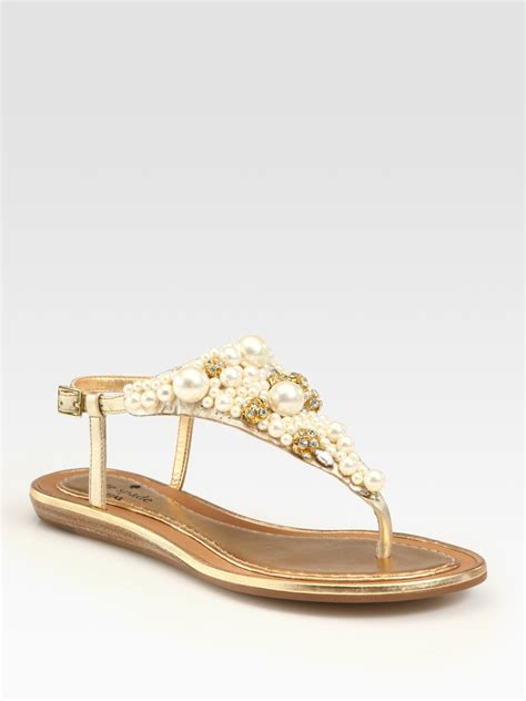 Genevieve Sandals By Kate Spade by Kate Spade Embellished Metallic Leather Sandals In