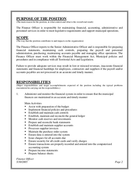 Officers Responsibilities by Finance Officer Description