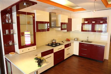 impressive kitchen space  red  white interior