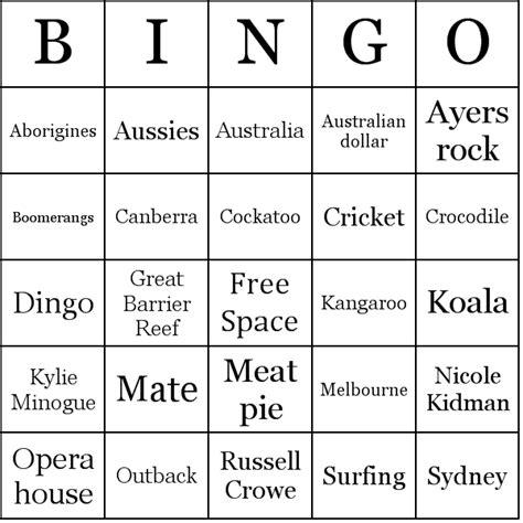 australia bingo cards