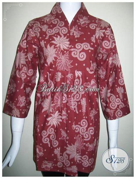 Baju Ibu Resmi baju batik semi resmi untuk wanita trendy batik semi tulis warna merah bls174 toko batik
