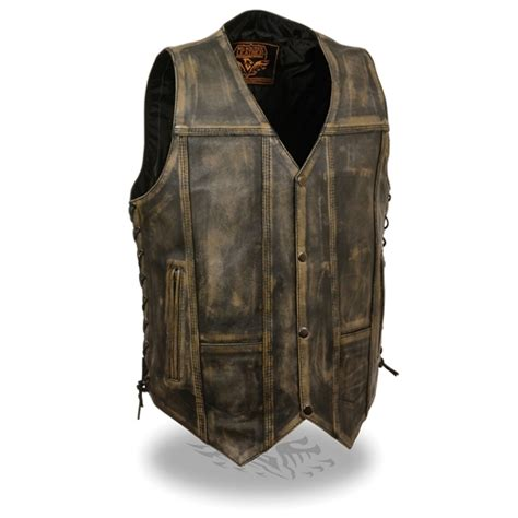 mens leather motorcycle vest s distressed brown leather motorcycle vests free