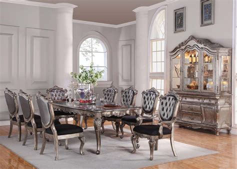 acme chantelle pc dining room set antique platinum dining rooms outlet