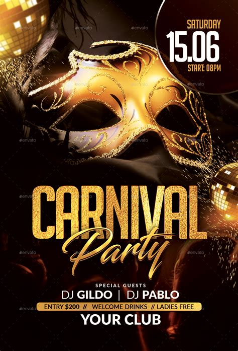 carnival party flyer  hedygraphics graphicriver