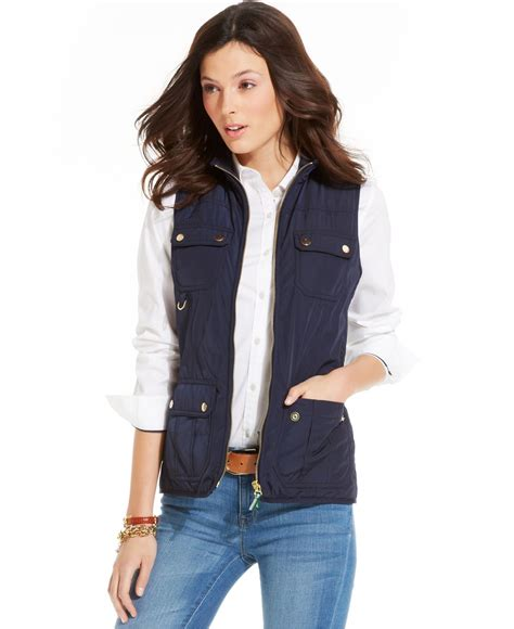 Hilfiger Quilted Vest by Hilfiger Quilted Panel Utility Vest In Blue Lyst