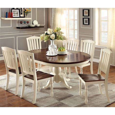 furniture of america bethannie cottage style 2 tone oval