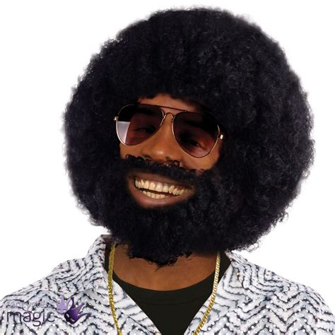 is black pubic hair an afro mens black afro wig beard lionel facial hair 1970s disco