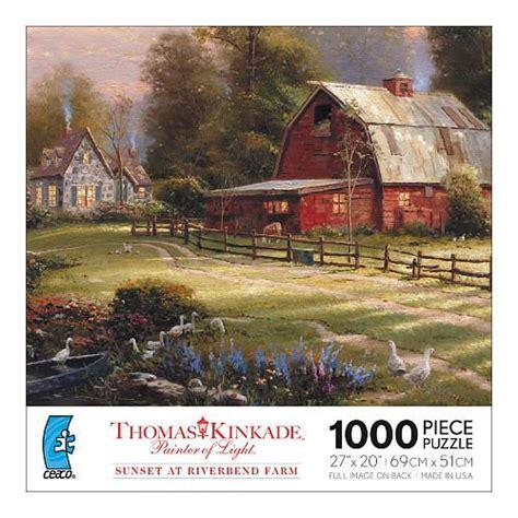 Jigsaw Puzzle Sunset On Llight 1000 kinkade 1000 jigsaw puzzle sunset at riverbend farm kinkade
