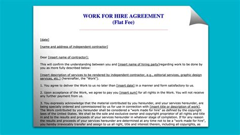 work for hire agreement template best work for hire agreement templates templates vip