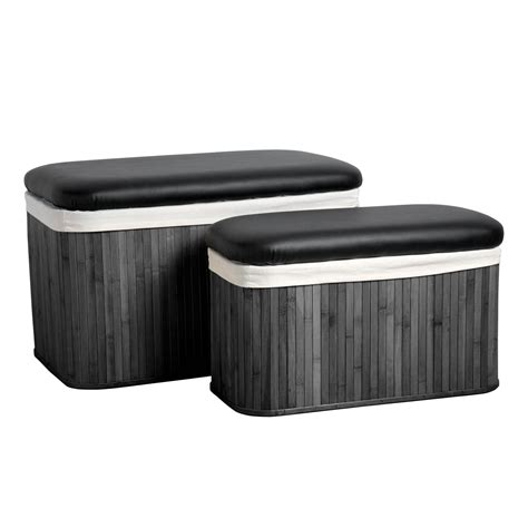Set Of 2 Bamboo Canvas Laundry Clothes Storage Basket Laundry Seat