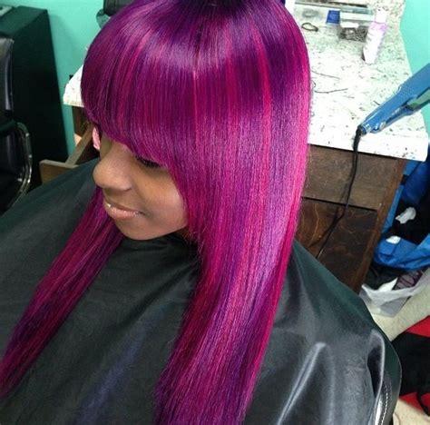 long pink sew in weave full weave bangs purple hair weaves wigs pinterest