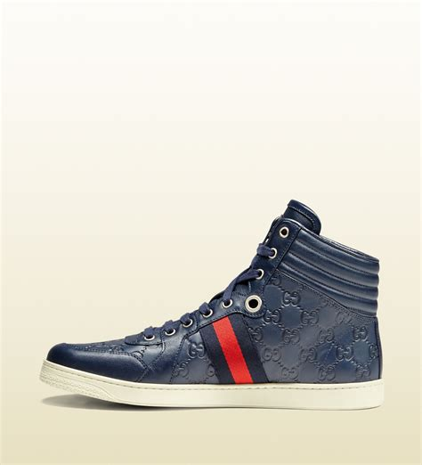 Top Blue lyst gucci ssima leather high top sneaker in blue for