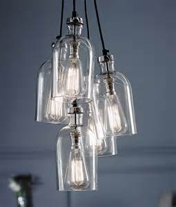 cluster pendant lighting clear glass 5 light multi pendant