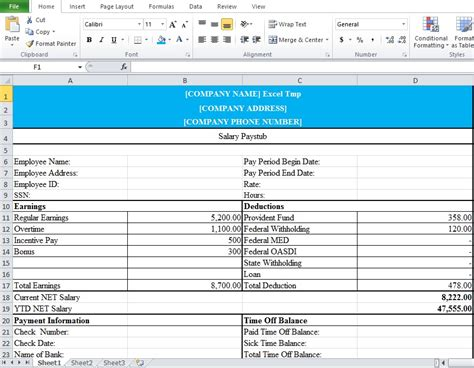 excel employee payroll template professional employee pay stub excel template excel tmp