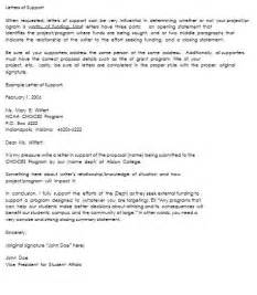 Project Support Letter Template 10 Letter Of Support Sles To Support Projects Or Individuals
