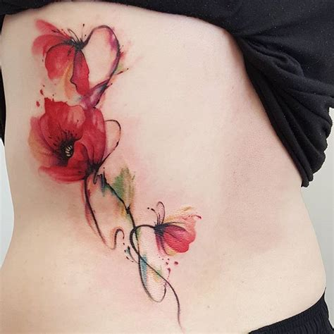 watercolor tattoo sydney abstract watercolour jemka poppy poppies tora
