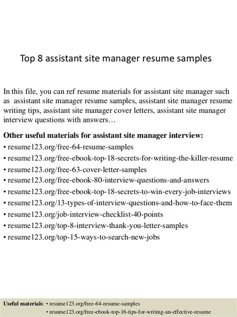Assistant Site Manager Sle Resume by Top 8 Assistant Site Manager Resume Sles