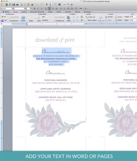 driving direction card templates lace flowers enclosure card template print