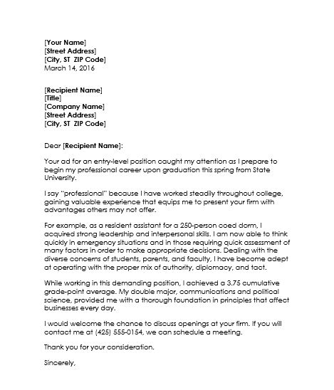 College Student Cover Letter Exles Of Resume Cover Letter For College Students