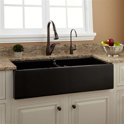 risinger double bowl fireclay farmhouse sink black
