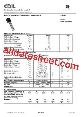 cd13001 datasheet pdf continental device india limited