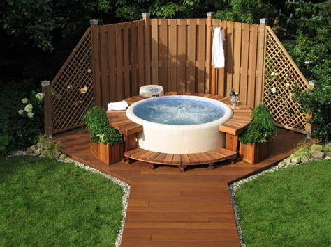 backyard hot tub designs outdoor hot tub privacy ideas landscaping gardening ideas