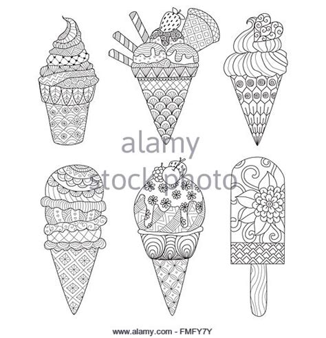 ice cream coloring pages for adults zentangle stock photos zentangle stock images alamy