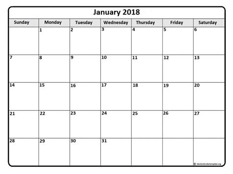 Word Calendar Template 2018 January 2018 Calendar Template Monthly Calendar 2017