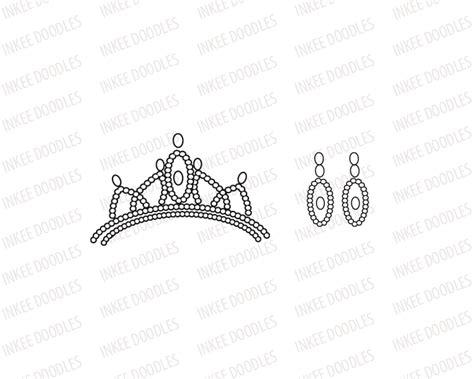 Set Tiara Cc princess crown tiara and earrings clip set
