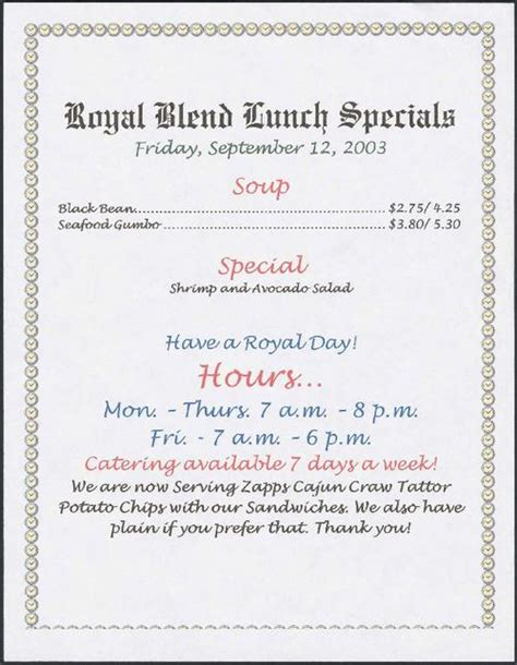 royal house menu royal blend coffee tea house restaurant lunch specials menu tulane university