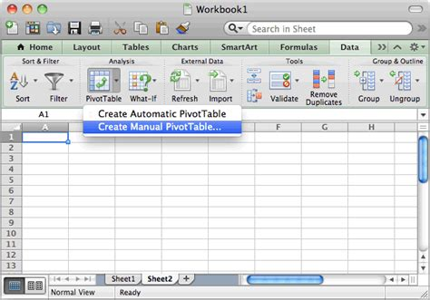 Make A Table In Excel by Ms Excel 2011 For Mac How To Create A Pivot Table