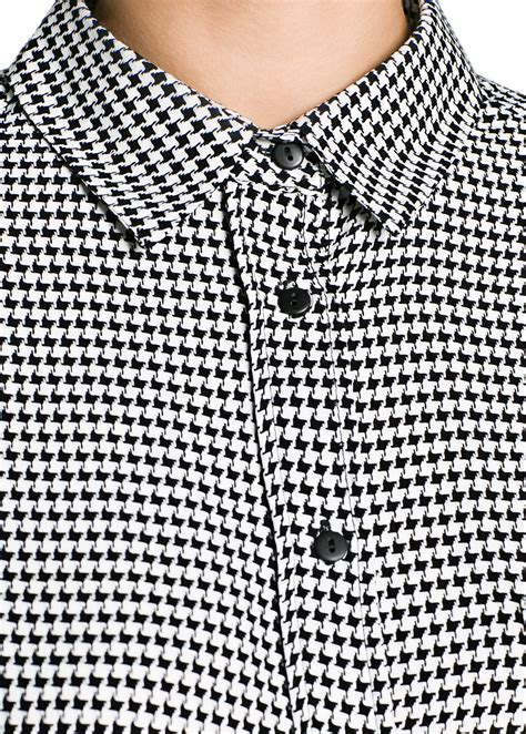 Houndstooth Shirt lyst mango houndstooth shirt in black