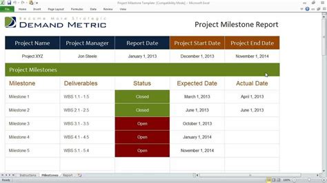 project milestones template youtube