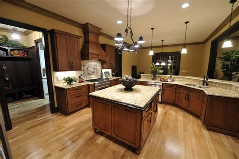 dark kitchen cabinets with light floors kitchens with brown cupboards kitchens with sienna beige
