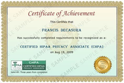 hipaa certificate template certified hipaa privacy associate certification
