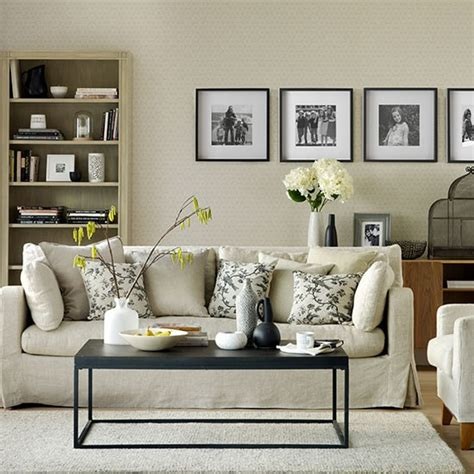 Decorating Ideas Living Room Neutral Black And Neutral Living Room Decorating Housetohome Co Uk