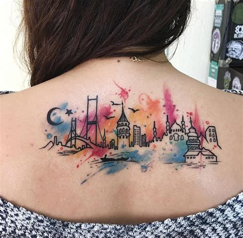 watercolor tattoo girl istanbul city watercolor on s back best