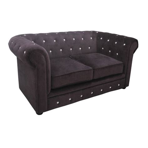 Black Velvet Chesterfield Sofa Black Velvet Diamante 2 Seater Chesterfield Sofa 2402107