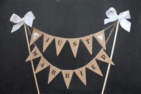 Wedding Banner For Cake by Just Married Wedding Cake Topper Cake Banner With Burlap