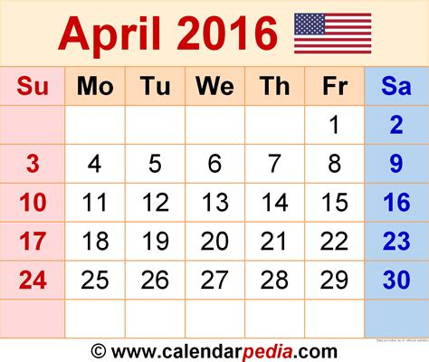 april 2016 calendar april 2016 calendars for word excel pdf